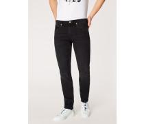 Tapered-Fit Mid-Wash 'Black Stretch' Denim Jeans