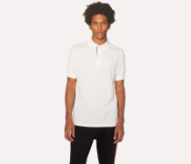 Slim-Fit White Cotton-Piqué Polo Shirt With 'Artist Stripe' Placket