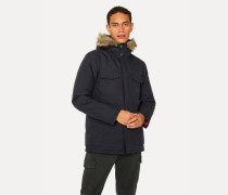 Navy Quilted Parka With Faux Fur Hood Detail