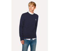 Dark Navy Zebra Logo Cotton-Blend Sweater