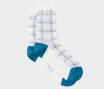 White Semi-Sheer Polka-Dot Check Socks