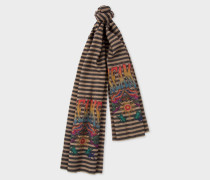 Black Stripe 'Dreamer' Motif Wool-Cashmere Scarf