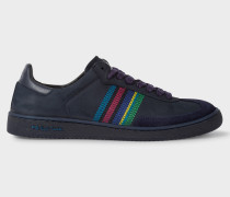 Navy Nubuck Leather 'Yuki' Trainers With Stripe Detail