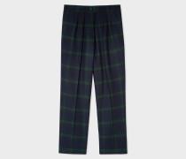 Blackwatch Tartan Wool-Blend Triple-Pleat Trousers