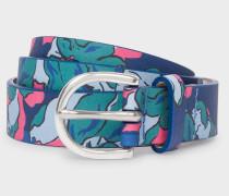 Blue Floral Print Leather Belt