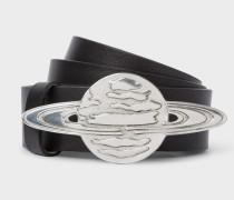 Black Leather Belt With 'Explorer Saturn' Buckle
