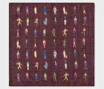 Damson 'People' Print Wool-Silk Pocket Square