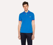 Slim-Fit Blue Zebra Polo Shirt With Red Tipping