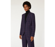 Navy Check Wool-Blend Blazer