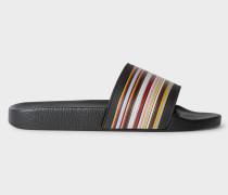 Black 'Ruben' Slides With 'Signature Stripe' Detail
