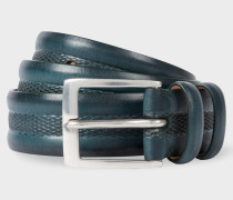 Teal Embossed Geometric Pattern Leather Belt
