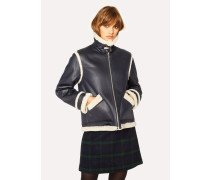 Navy Faux Shearling Aviator Jacket With Contrast Trims