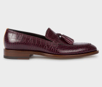 Burgundy Mock-Croc Leather 'Alexis' Loafers