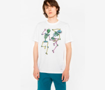 White 'Dancing Skeletons' Print Organic-Cotton T-Shirt