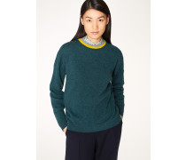 Teal Cashmere Sweater With Contrast Collar