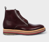 Bordeaux Leather 'Corelli' Boots With Multi-Coloured Soles