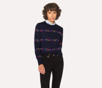 Navy Wool-Blend Sweater With Stripe Detail