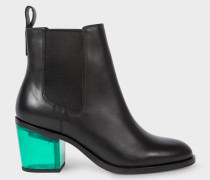 Black Leather 'Shelby' Boots With Green Transparent Heels