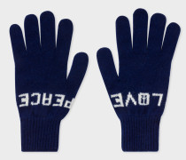 Navy 'Peace & Love' Wool Gloves