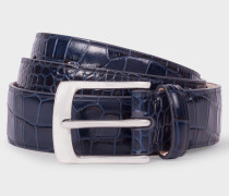 Blue Mock-Croc Leather Belt