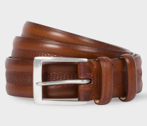 Brown Embossed Geometric Pattern Leather Belt