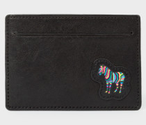 Black 'Zebra' Appliqué Leather Credit Card Holder