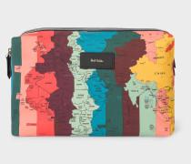 Artist Stripe 'World Map' Print Canvas Wash Bag