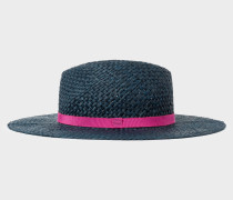 Navy Open Weave Straw Hat