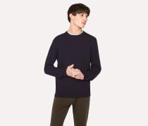 Navy Diagonal-Knit 'Cycle Stripe' Cuff Cotton Sweater