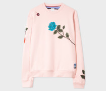 Pale Pink 'Rose' Embroidered Cotton Sweatshirt
