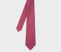 Red Silk Tie With Thin Diagonal Stripes
