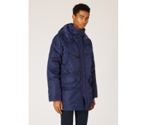 Navy Quilted Down-Filled Parka