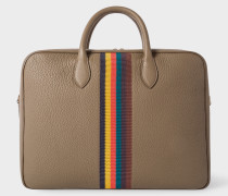 Taupe 'Bright Stripe' Leather Business Folio