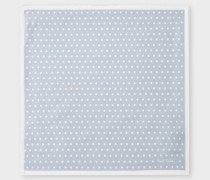 Light Steel-Blue Polka Dot Silk Pocket Square