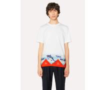 Slim-Fit White T-Shirt With 'Tuna' Print Hem