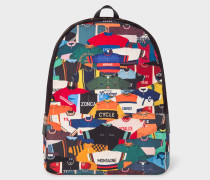 'Cycling Jersey' Print Canvas Backpack