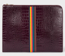 Burgundy 'Bright Stripe' Mock-Croc Leather Document Pouch