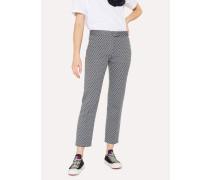 Slim-Fit Navy Jacquard Cotton-Blend Trousers