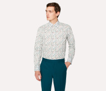 Tailored-Fit White 'Balloon Floral' Print Cotton 'Artist Stripe' Cuff Shirt