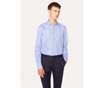 Slim-Fit Sky Blue Fil-À-Fil Cotton Shirt With Sports Charm Button Placket