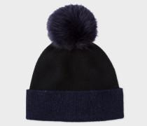 Navy And Black Pom-Pom Wool Hat
