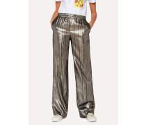 Metallic Pin-Stripe Wide Leg Trousers