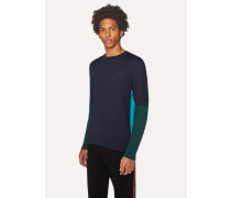 Dark Navy Color-Block Crew-Neck Wool-Silk Sweater