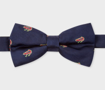 Navy Embroidered 'Dreamer Frog' Silk Bow Tie