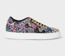 Black 'Oriental Floral' Leather 'Basso' Trainers