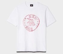 White T-Shirt With Red Ear 'Rabbit Scribble' Print
