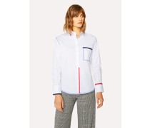 White Stretch-Cotton Shirt With Contrast Details