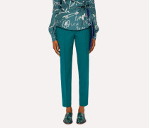 Classic-Fit Teal Wool Trousers