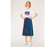 Dark Navy Colour Block Suede Midi Skirt