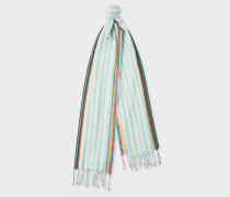 Turquoise And White Stripe Silk-Blend Scarf